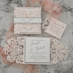 silver glittered blush laser cut wedding invites EWTS010-1