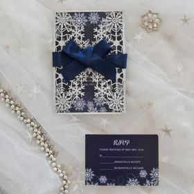 silver and blue winter snowflake wedding invites with navy blue ribbon EWWS252