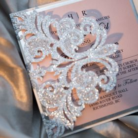 silver glittery wedding invitations with translucent vellum belly band EWWS268