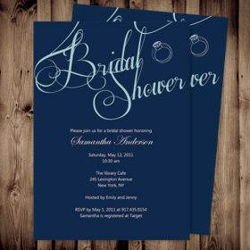 Cheap simple blue shower invites bridal online EWBS021