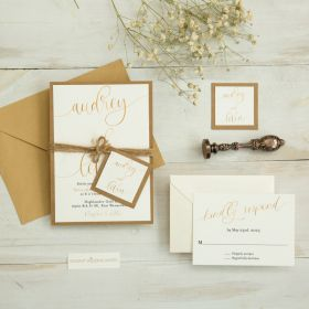 simply rustic wedding invitets with gold script wordings and kraft backer EWIM011