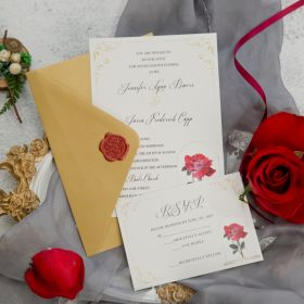 Single red rose inspired by Beauty and the Beast wedding invitation EWI442-1