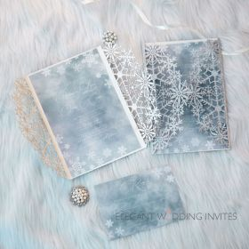 sky blue and glittery silver winter snowflake laser cut wedding invitation EWDS013-1