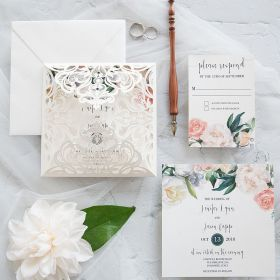 Romance in Bloom-ivory laser cut fold with watercolor floral invitation EWDM001