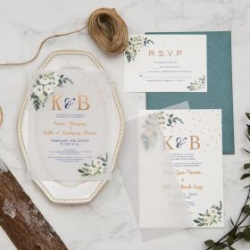 stunning greenery botanical vellum wedding invitation with UV printing EWUV041-1
