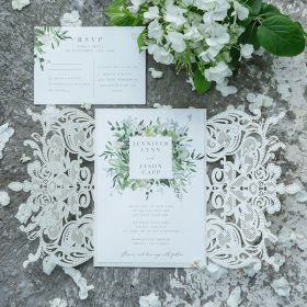 stylish greenery inspired laser cut wedding invitation set EWDS001-1