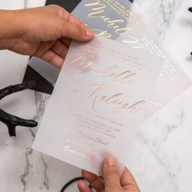 stylish calligraphy custom foil vellum wedding invitations EWFI035-1