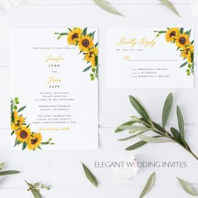 sunflower glory-cheap sunflower themed wedding invitation cards EWIS003