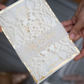 classic ivory laser cut wedding invitation with foil printing EWWS274