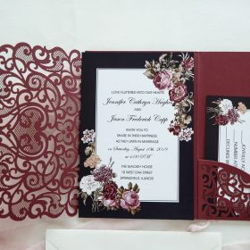Turn-Burgundy Laser Cut Fold invitation with victorian inspired floral EWWS243