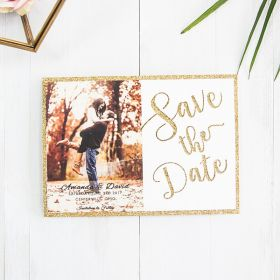 unique rose gold glitter laser cut fall-in-love photo wedding save the date card EWSTD063