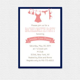 navy blue and pink lingerie invitations for bachelorette party ideas EWBI019