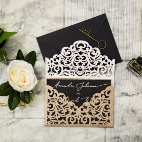 unique black card in gold foil with gold glitter laser cut invites EWWS276
