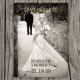 Cheap vintage simple photo save the date EWSTD044