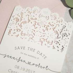 vintage lace inspired wedding save the date card EWSTD058