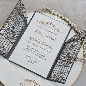 vintage slate grey intricate laser cut gate-folded wedding invitation EWWS207