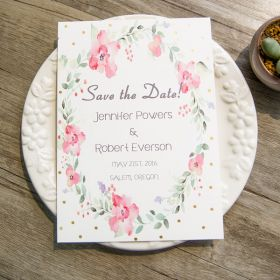 watercolor wreath foil dot save the date cards EWSTD054