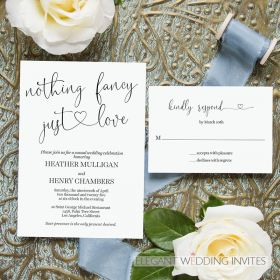 wedding invitations with heart and just love and nothing fancy EWIM008