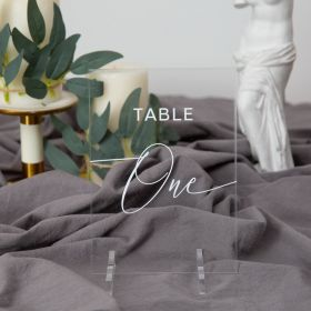 Wedding Table Numbers-Acrylic Table Numbers Clear and Chic Calligraphy EWSGT010