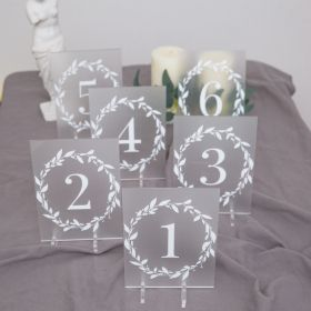 Wedding Table Numbers-Acrylic Table Numbers With Leaves Branch Wreath EWSGT012-1