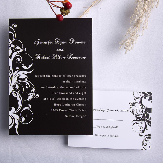 Classic Black And White Damask Wedding Invitations Ewi023