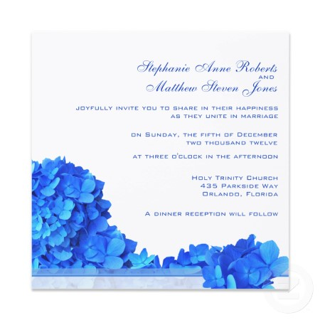 Blue Hydrangea Garland Wedding Invitation