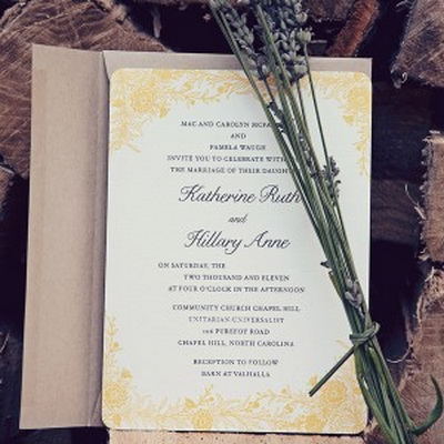 lavender yellow and purple winter wedding invites