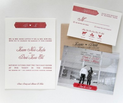 romantic Red White Wedding Invitations-Save-the-Date