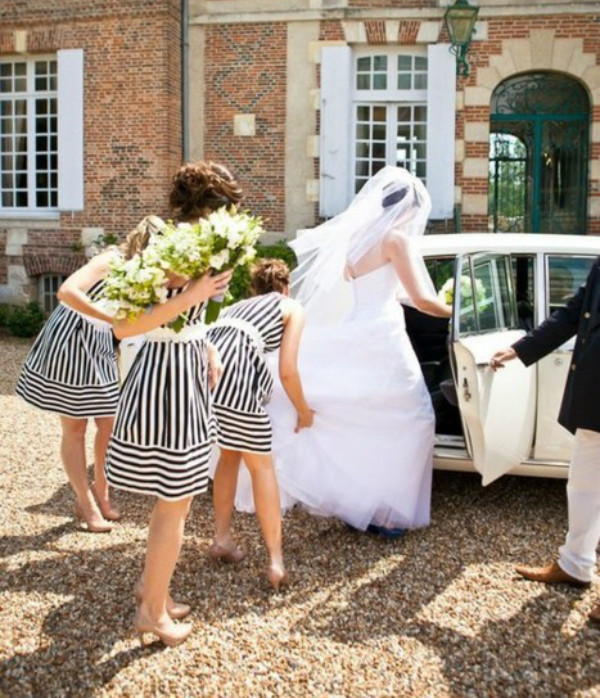 black and white striped bridesmaids