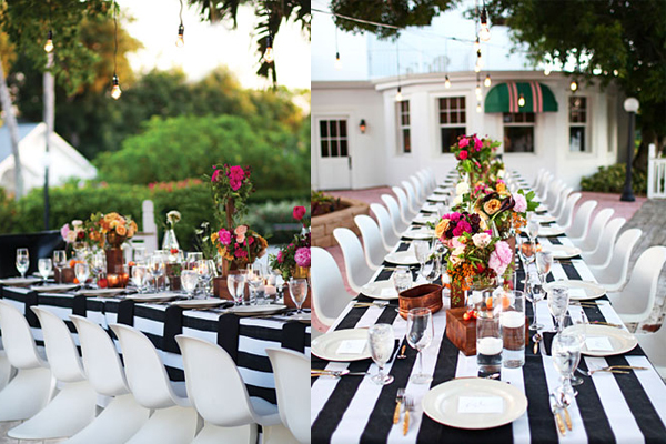 black and white striped table set