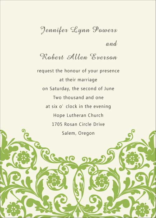Rustic Green Wedding Invitation