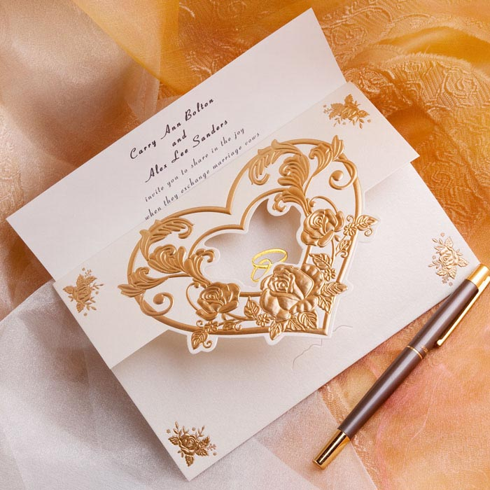 embossed heart gold fall wedding invitations