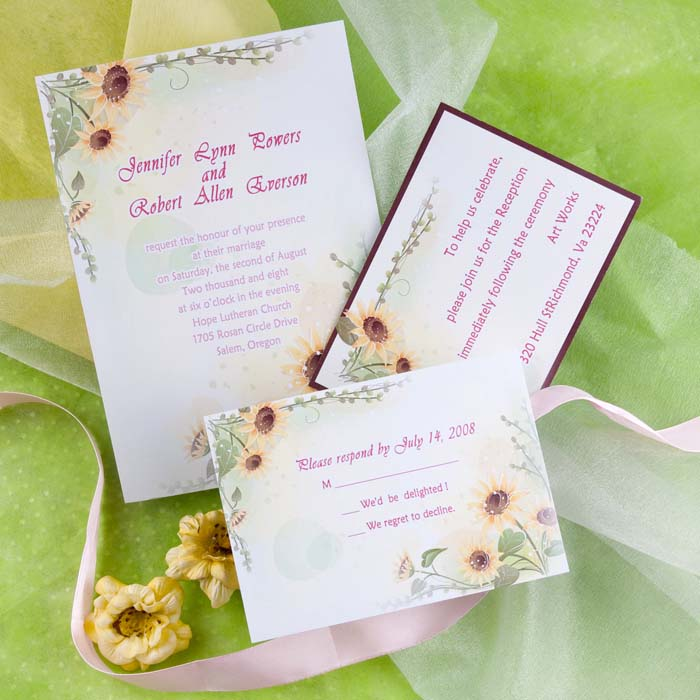 sunflower fall wedding invitations