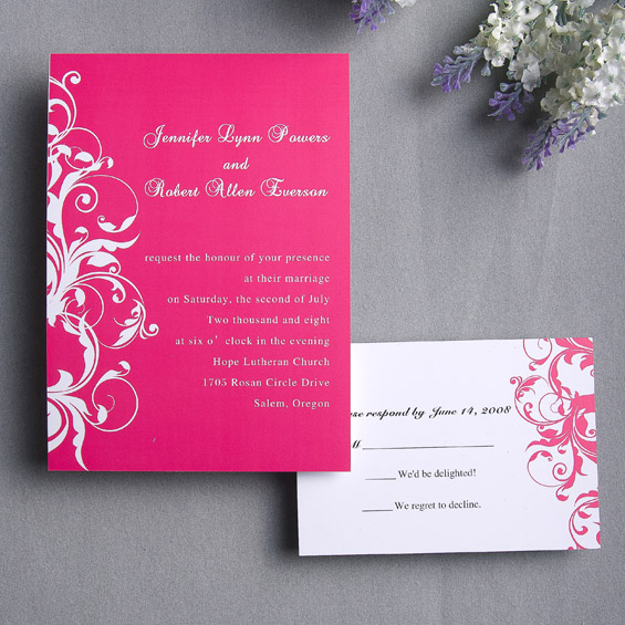 having a pink theme wedding for your special day, Wedding invitations