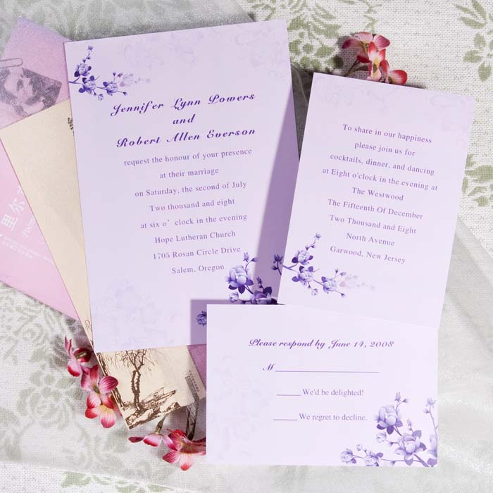 country lavender wedding invitations - Lavender Wedding Invitations