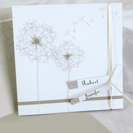 Romantic dandelion white wedding invitations