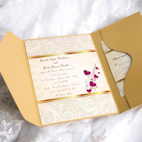Elegant Gold Pocket Wedding Invitations