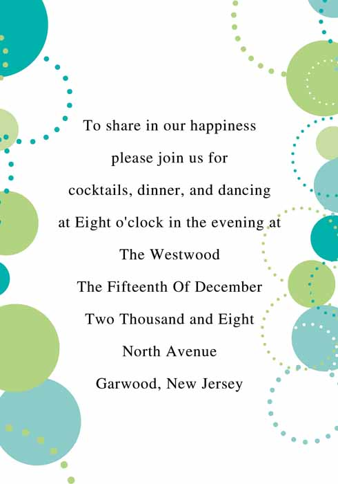 Blue and Green Wedding Invitations
