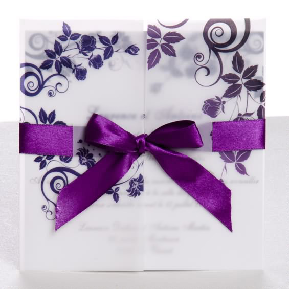 Classic Purple Ribbon Tri Fold Wedding Invitations