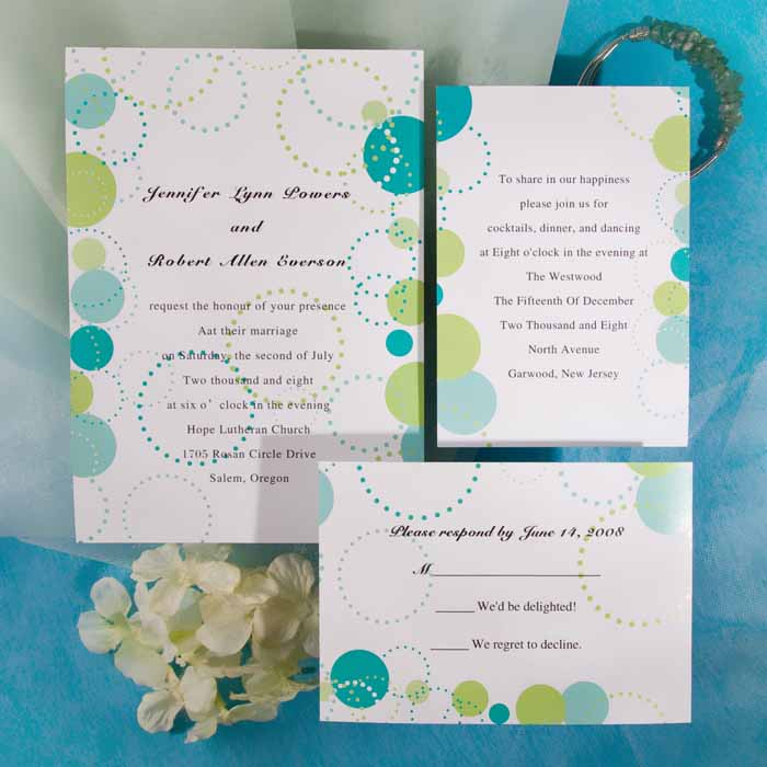 Mint and Blue Wedding Invitations