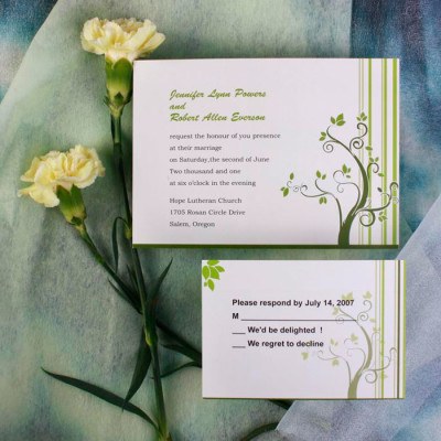Country Green Wedding Invitation Cards