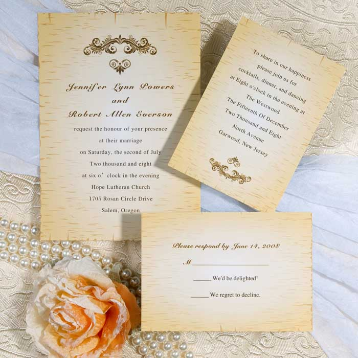 Vintage rustic wedding invitation