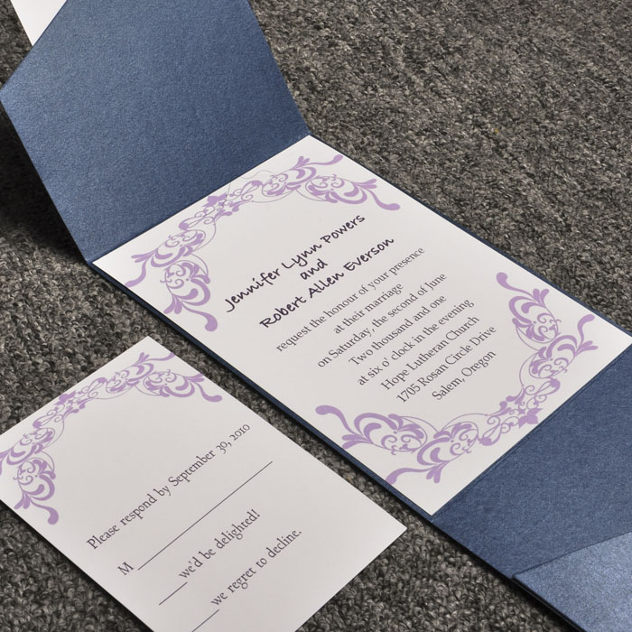 Purple And Blue Pocket Wedding Invites