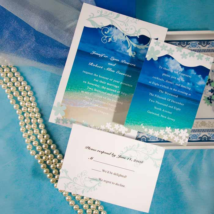 Blue Beach Wedding Cards