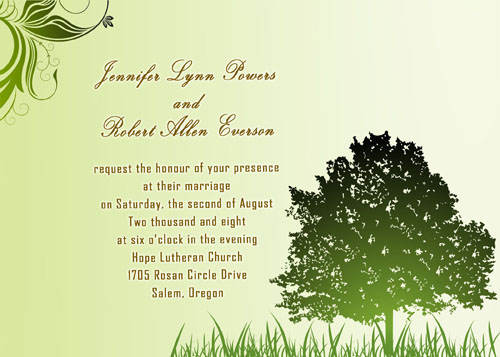 rustic green country wedding invitations