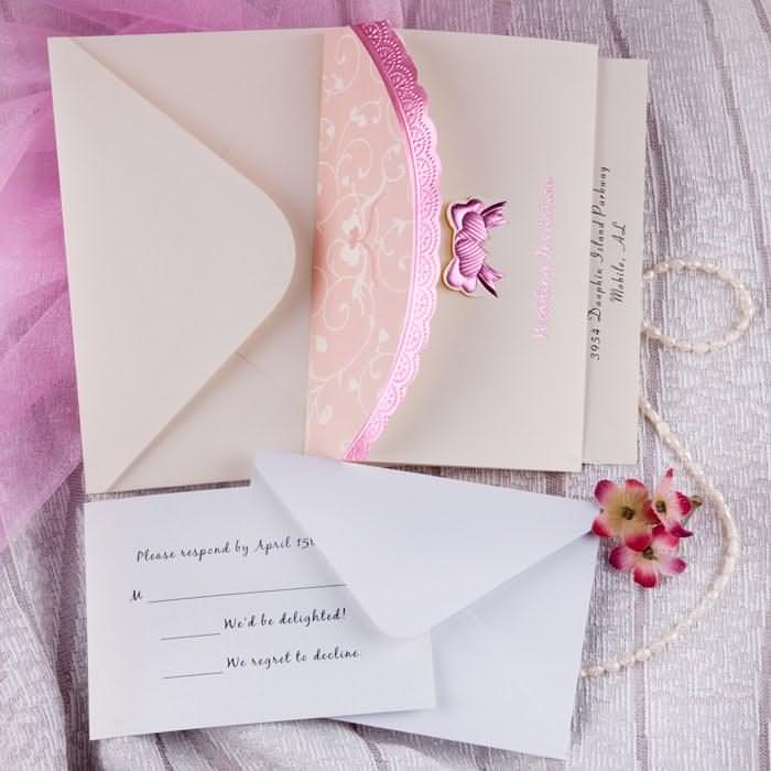 pink butterfly tri folded wedding invitations
