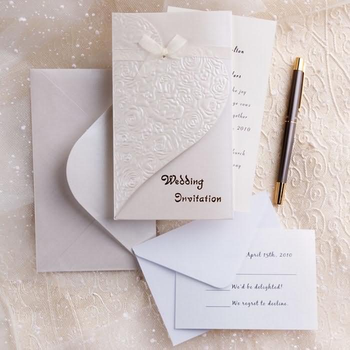Elegant silver white wedding invitations