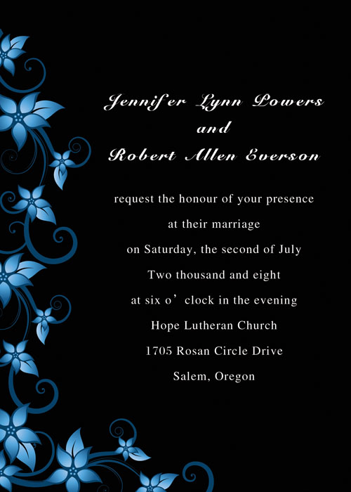 Blue and Black Wedding Invites