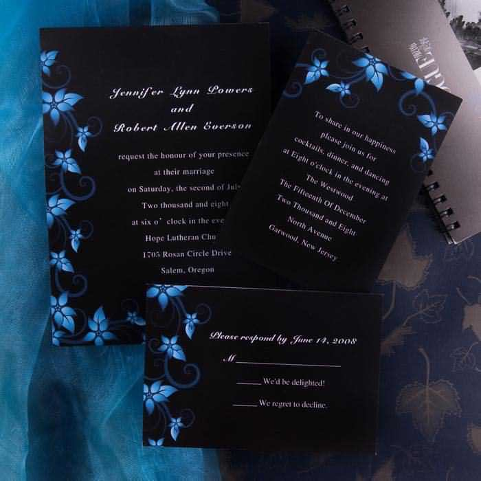 black and blue formal wedding invitations