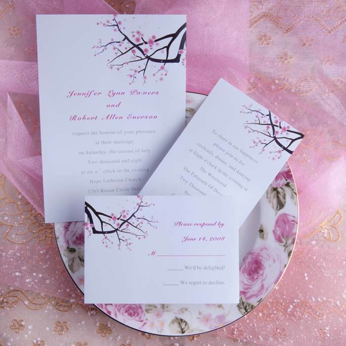 Elegant Cherry Blossom Wedding Invites